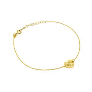 Złota bransoletka celebrytka z ażurowym sercem pr.333