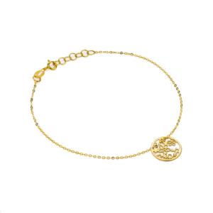 Złota bransoletka celebrytka ażurowe kwiatki pr.585