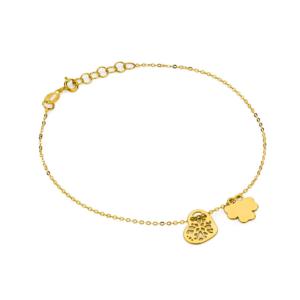 Złota bransoletka dwuelementowa celebrytka koniczynka, ażurowe serduszko pr.585