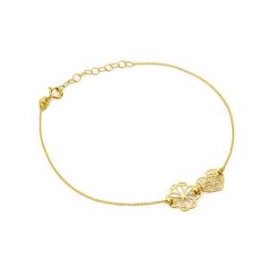 Złota bransoletka celebrytka ażurowe serce koniczynka pr.333