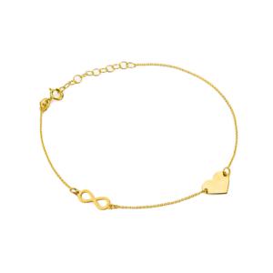 Złota bransoletka celebrytka pełne serce nieskończoność pr.333