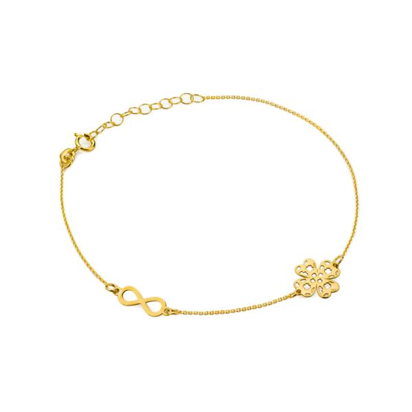 Złota bransoletka celebrytka ażurowa koniczynka nieskończoność pr.333