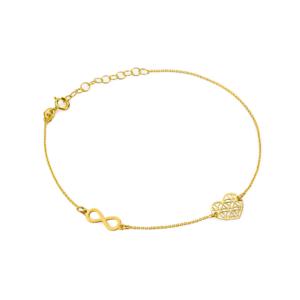 Złota bransoletka celebrytka nieskończoność i ażurowe serce pr.333