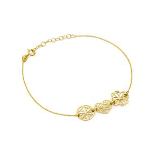 Złota bransoletka celebrytka ażurowe serce kółko koniczynka pr.333