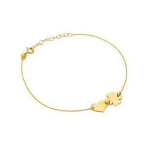 Złota bransoletka celebrytka pełne serce i koniczynka pr.333
