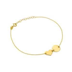 Złota bransoletka celebrytka pełne serce i kółko pr.333