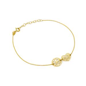 Złota bransoletka celebrytka ażurowe serce i kółko pr.333