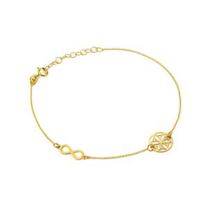 Złota bransoletka celebrytka ażurowe kółko i nieskończoność pr.333