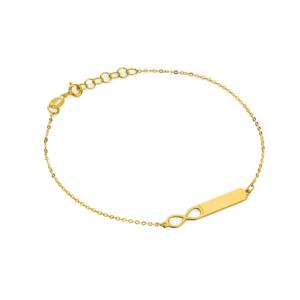 Złota bransoletka celebrytka blaszka nieskończoność pr.585