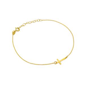Złota bransoletka celebrytka z krzyżykiem pr.333