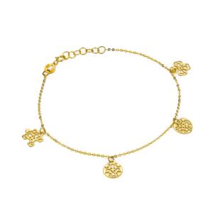 Złota bransoletka z ażurowymi przywieszkami pr.585