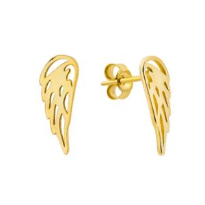 Złote kolczyki skrzydła anioła sztyfty pr.333