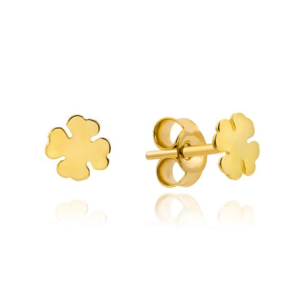Złote kolczyki małe koniczynki sztyfty pr.333