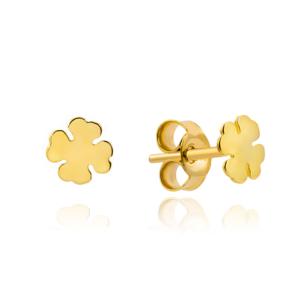 Złote kolczyki małe koniczynki sztyfty pr.585