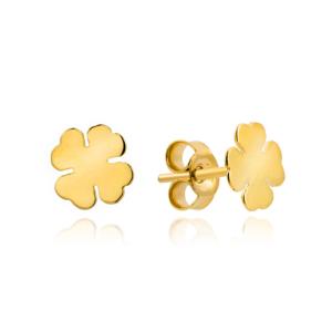 Złote kolczyki koniczynki sztyfty pr.333
