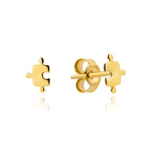 Złote kolczyki małe puzzle sztyfty pr.585