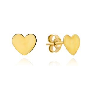 Złote kolczyki gładkie serce sztyfty pr.333