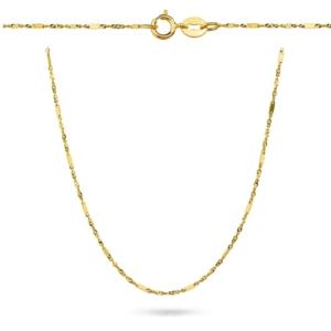 Złoty pełny łańcuszek singapur z blaszkami 40cm pr.333