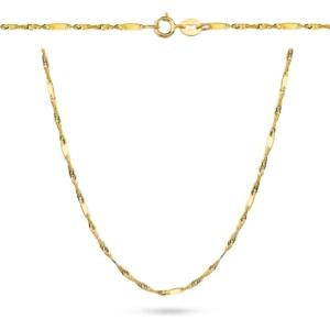 Złoty pełny łańcuszek singapur z blaszkami 45cm pr.333