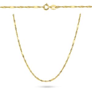 Złoty pełny łańcuszek singapur z blaszkami 45cm pr.585