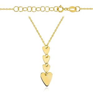 Złoty naszyjnik z serduszkami pr.585