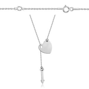 Srebrny rodowany naszyjnik serce i strzała