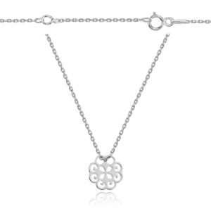 Srebrny rodowany naszyjnik celebrytka ażurowy kwiat