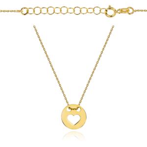 Złoty naszyjnik celebrytka kółko z sercem pr.333