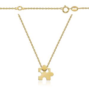 Srebrny pozłacany naszyjnik celebrytka z małym puzzlem