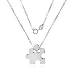 Srebrny naszyjnik celebrytka z dużym puzzlem