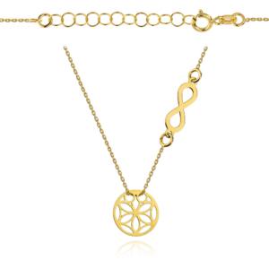 Złoty naszyjnik dwuelementowa celebrytka ażurowe kółko nieskończoność pr.333