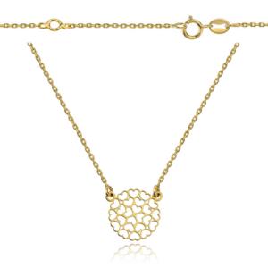 Srebrny pozłacany naszyjnik celebrytka z okrągłą ażurową zawiszką