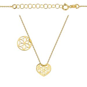 Złoty naszyjnik dwuelementowa celebrytka ażurowe kółko i serce pr.333