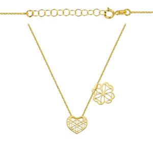 Złoty naszyjnik dwuelementowa celebrytka ażurowe serce i koniczynka pr.333