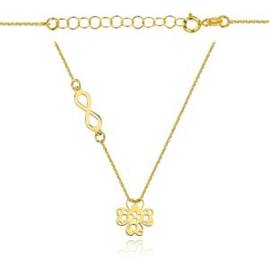 Złoty naszyjnik dwuelementowa celebrytka ażurowa koniczynka i nieskończoność pr.333