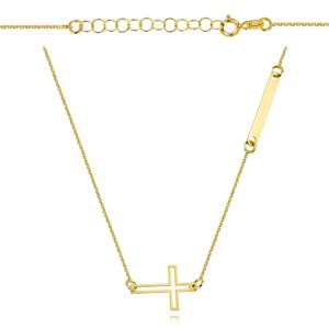 Złoty naszyjnik dwuelementowa celebrytka krzyżyk i blaszka pr.333