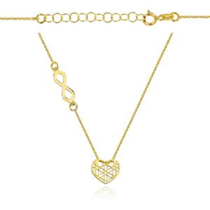 Złoty naszyjnik dwuelementowa celebrytka nieskończoność i ażurowe serce pr.333
