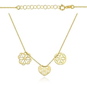 Złoty naszyjnik trzyelementowa celebrytka ażurowe serce kółko koniczynka pr.333