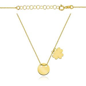 Złoty naszyjnik dwuelementowa celebrytka pełne kółko koniczynka pr.333
