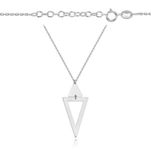 Srebrny rodowany naszyjnik trójkąty