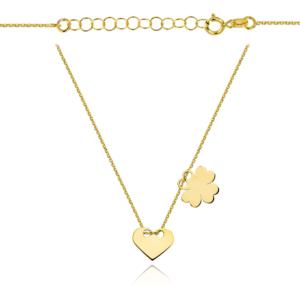Złoty naszyjnik dwuelementowa celebrytka pełne serce koniczynka pr.333