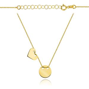 Złoty naszyjnik dwuelementowa celebrytka pełne serce i kółko pr.333