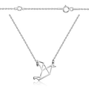 Srebrny naszyjnik origami żuraw
