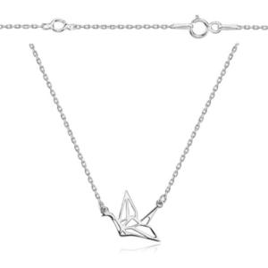 Srebrny naszyjnik origami łabędź w locie