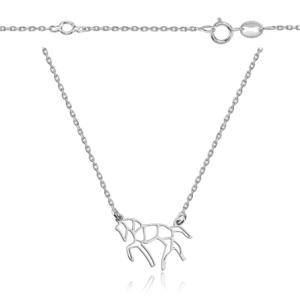 Srebrny naszyjnik origami koń