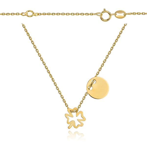 Srebrny pozłacany naszyjnik celebrytka dwa elementy pełne kółko ażurowa koniczynka