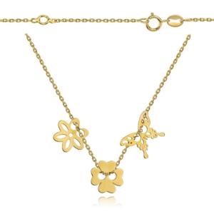 Srebrna pozłacana celebrytka z trzema elementami motyl kwiatek koniczynka