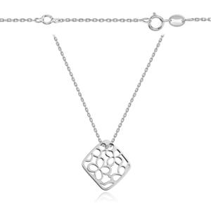 Srebrny rodowany naszyjnik celebrytka ażurowe kwiatki
