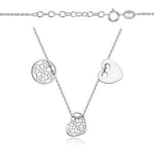 Srebrny rodowany naszyjnik z trzema elementami celebrytka