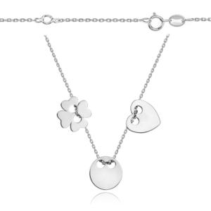 Srebrna rodowana celebrytka z trzema elementami serce kółko koniczynka